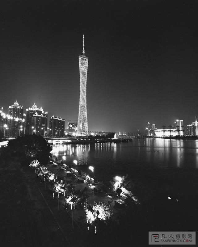 广州建筑黑白手绘插画