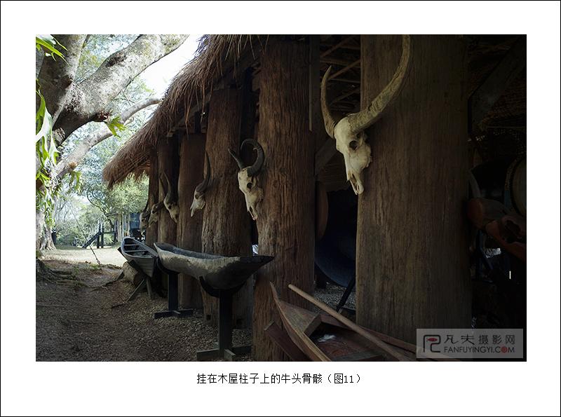 挂在木屋柱子上的牛头骨骸