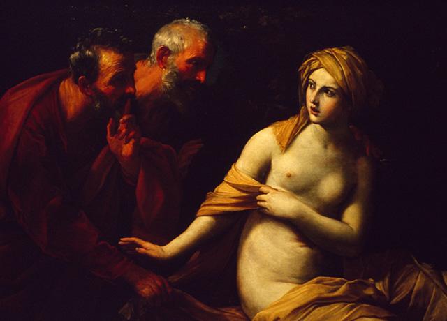 油画《苏珊娜与长老》的对比效果